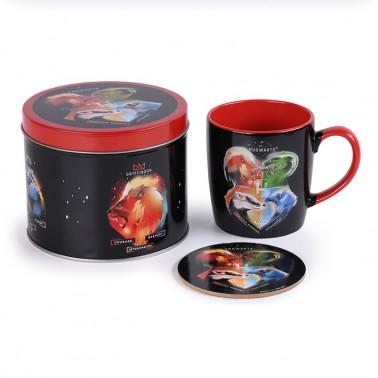 Lata regalo taza + posavasos Harry Potter Escudos