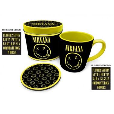 Lata regalo taza + posavasos Nirvana Smiley