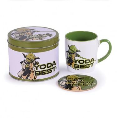 Lata regalo taza + posavasos Star Wars Yoda Best