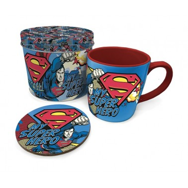 Lata regalo taza + posavasos Superman