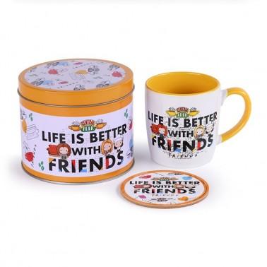 Lata regalo taza + posavasos Friends Life's better