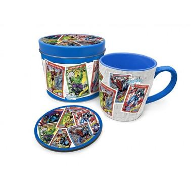 Lata regalo taza + posavasos Marvel Cartas