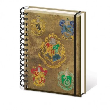 Libreta espiral A5 Harry Potter escudos casas y Ho