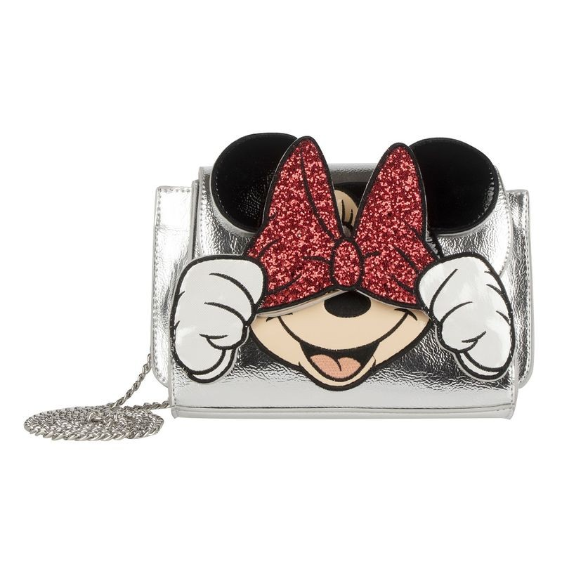 Bolso bandolera plateado Minnie