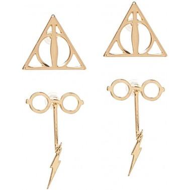 Set de pendientes dorados Harry Potter