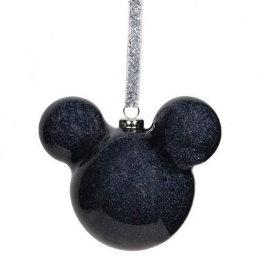 Adorno navideño Mickey Mouse purpurina negro