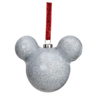 Adorno navideño Mickey Mouse purpurina plateada