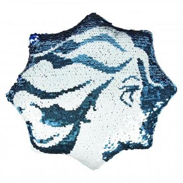 Cojín de lentejuelas azules y blancas